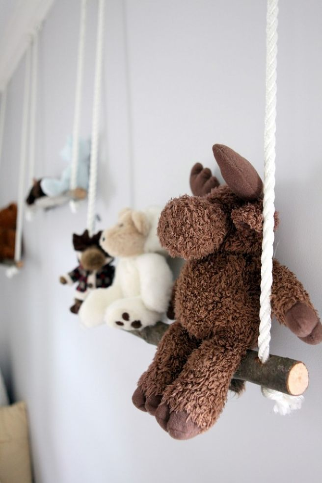 Branch Swing Shelves – For my woodland-themed nursery, I decided to bring the outdoors in once again with these whimsical branch