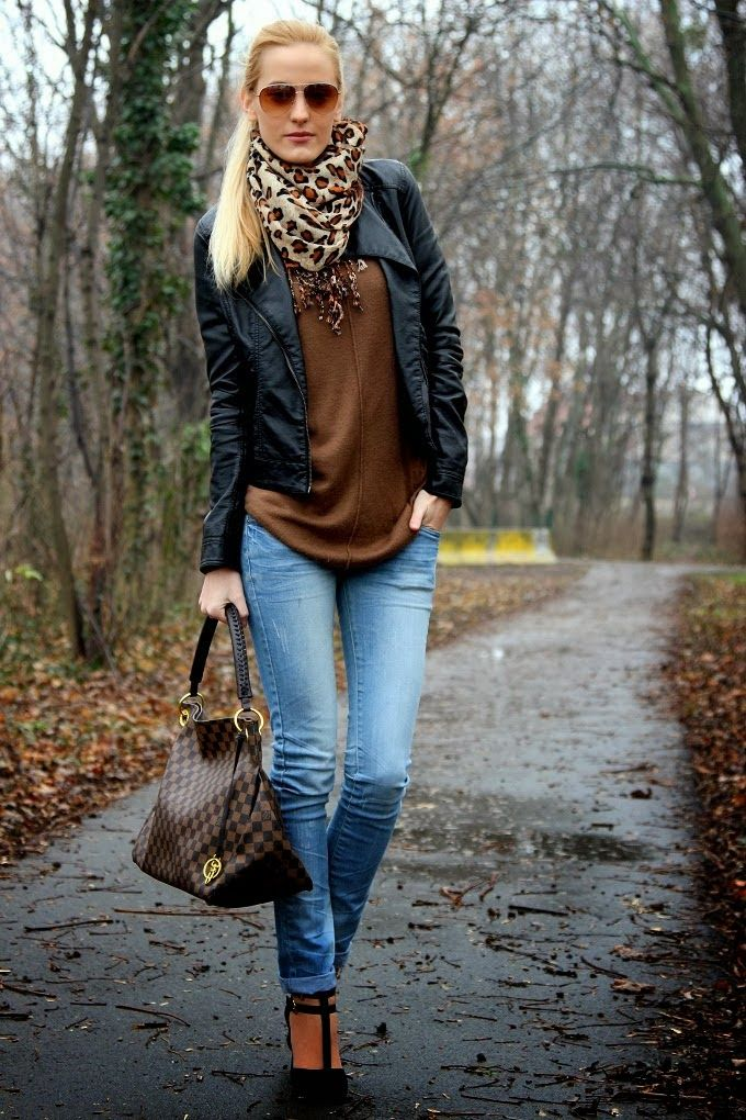 Fashion Idea leather jacket black brown sweater cardigan