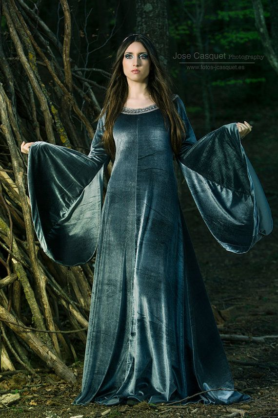 Elven Dress Medieval Costume In Velvet Grey Silver