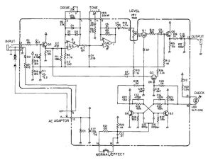 Schematic diagram of Boss SD1 Super OverDrive pedal