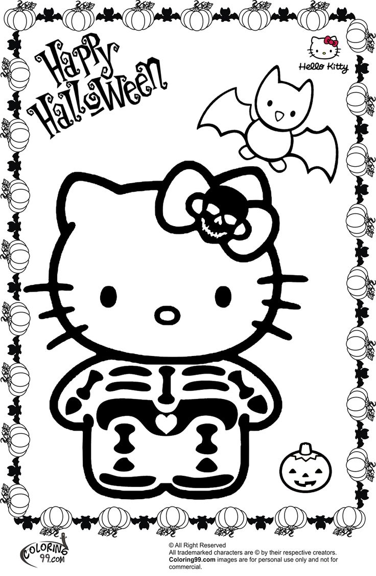 hello kitty halloween skeleton coloring pages Color