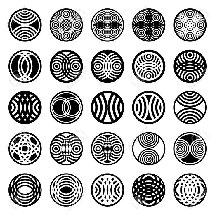 Patterns In Circle Shape. 25 Design Elements. Set 1