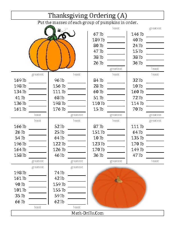 New 20121003! Thanksgiving Math Worksheet Ordering