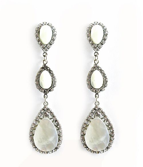 Triple Drop Mother Of Pearl Chandelier Earrings By Haute Bride Are Sure To Be Loved Everyone They Re Just As Much A Statement Piece