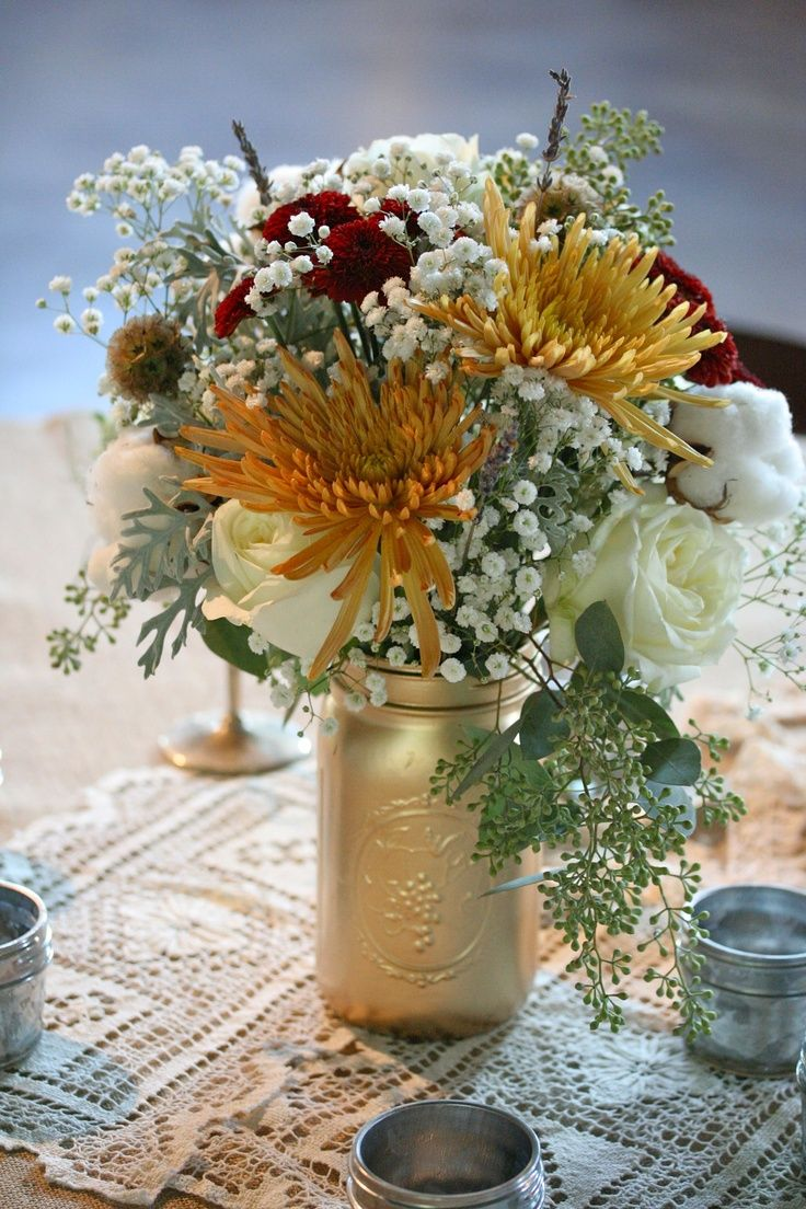 Rustic Fall Wedding Rustic Fall Wedding Table Flowers