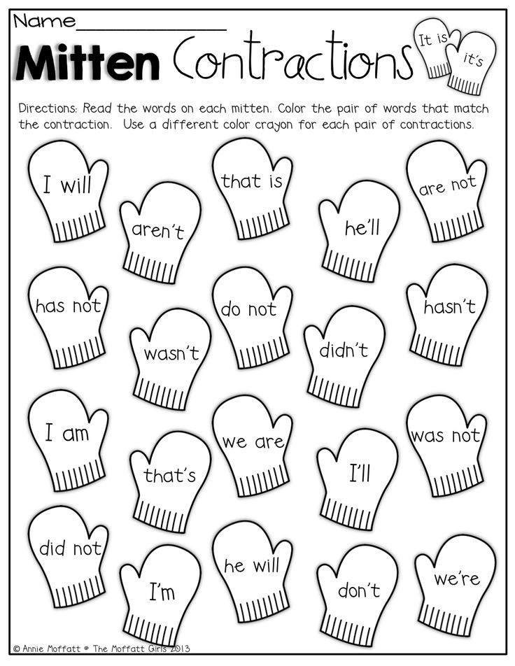 Mitten Contractions Color The Mittens That Match The