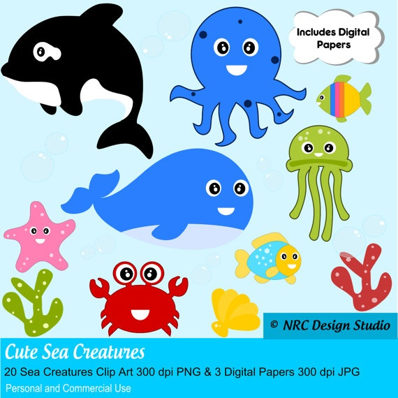 Cute Sea Creatures Clipart. Personal and Commercial Use by
