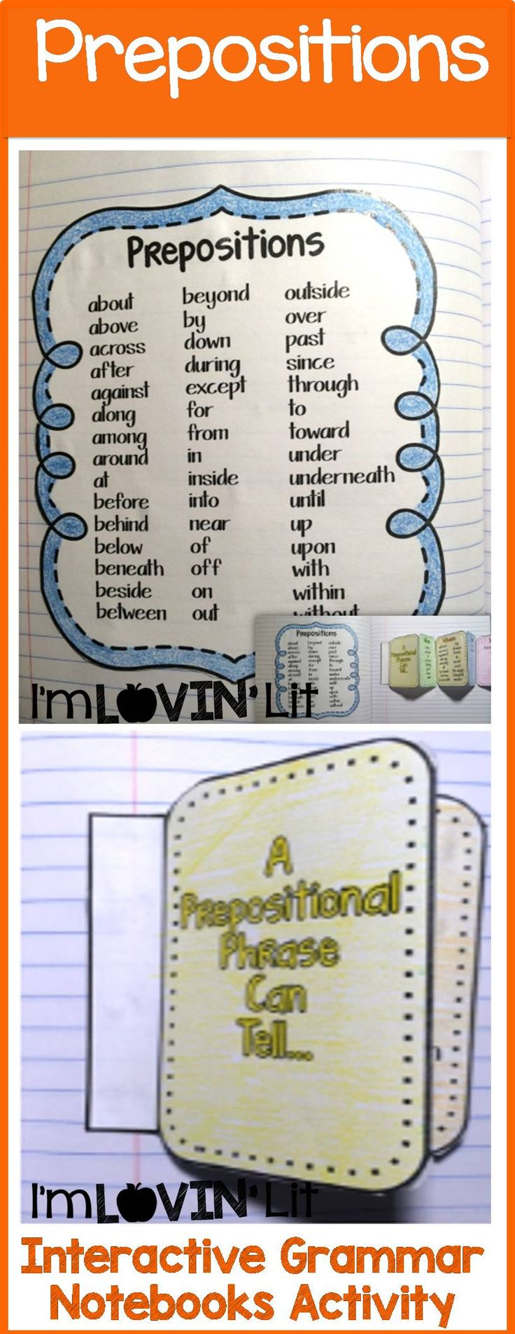 Prepositions Interactive Notebook Activity, Foldable