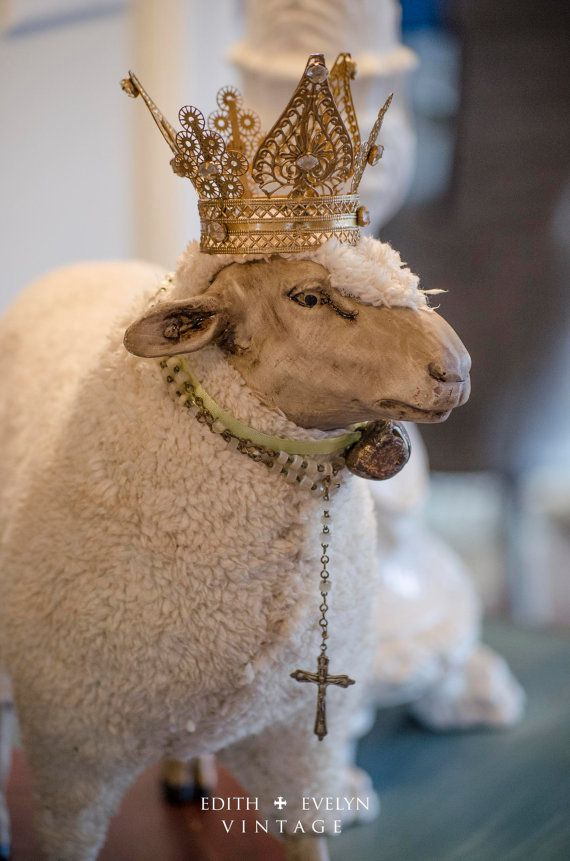 HUGE Sheep Statue Figure German Style Sheep Pull Toy With Crown Antique Rosary And Bird