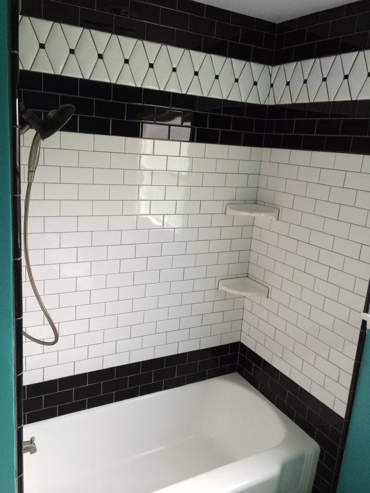 Black And White Subway Tile Black Bullnose Trim And White Pillow Tile From Tile Expo In