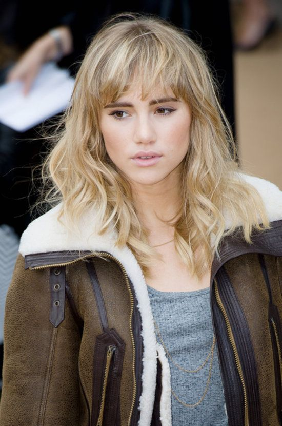 "Suki Waterhouse: Suki Waterhouse recently showed off her bedhead bangs. Just pull out the mousse to get a similar ""unstyled"" feel."