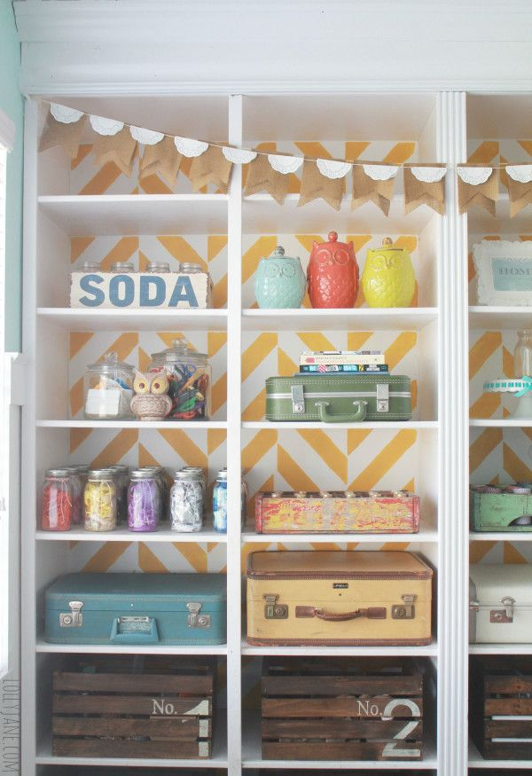 Lolly Jan Stenciled Bookcase Update the Look Behind Your Books {9 Easy Ideas}