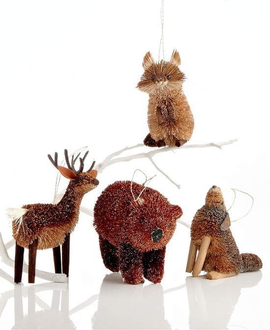 bristle woodland animal christmas tree ornaments Foxes