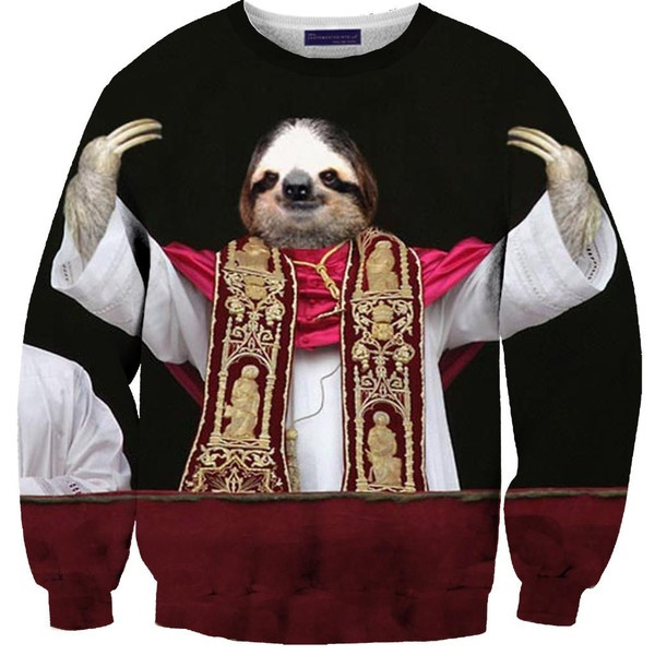 Sloth Pope Sweater Sloths and Sweaters