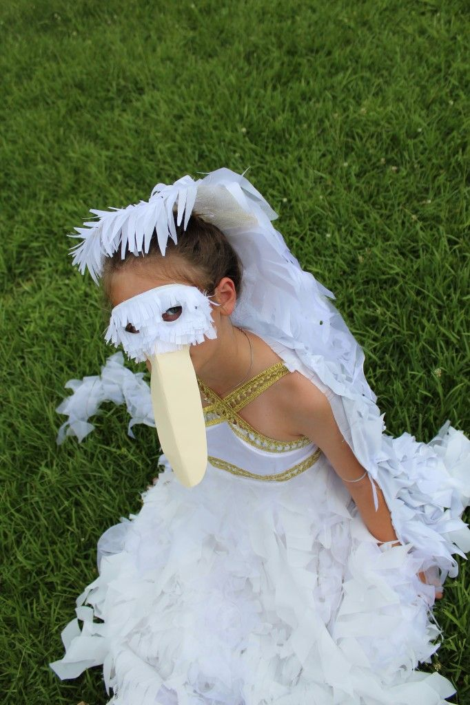 a remake of an old dress into a pelican costume, with