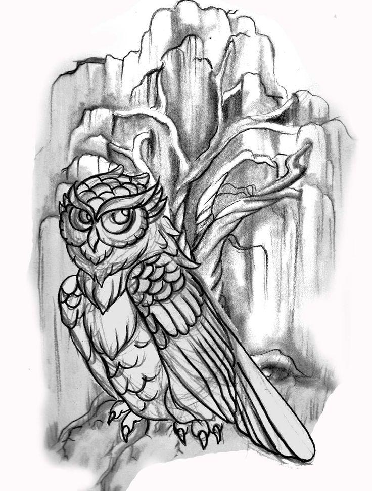 line drawing, owl; willow tree; tattoo Candace Tattoo