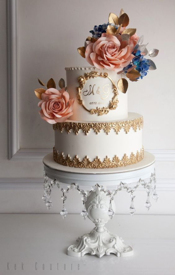 Two Tier Gold Detail White Wedding Cake Dessert Wedding