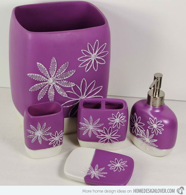 purple bathroom accessories ~ interiors design