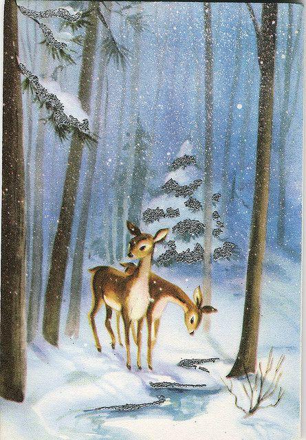 Vintage Greeting Card 2 Deer In Snowy Woods Public