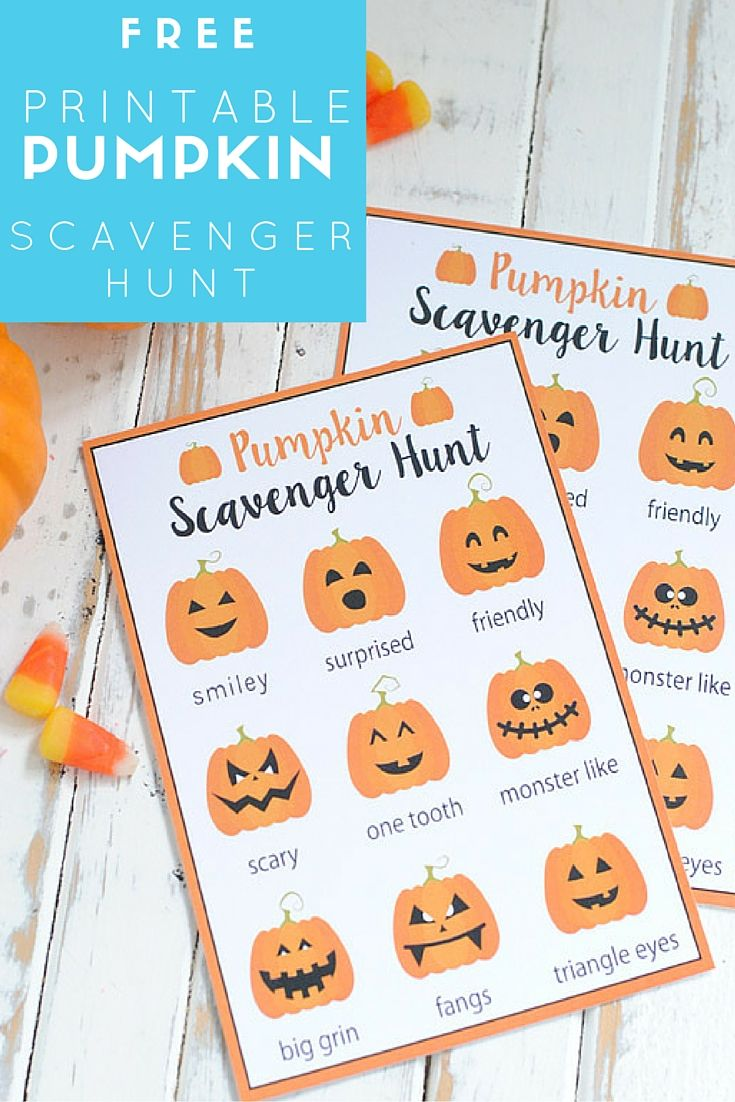 Free Printable Pumpkin Scavenger Hunt Free printable