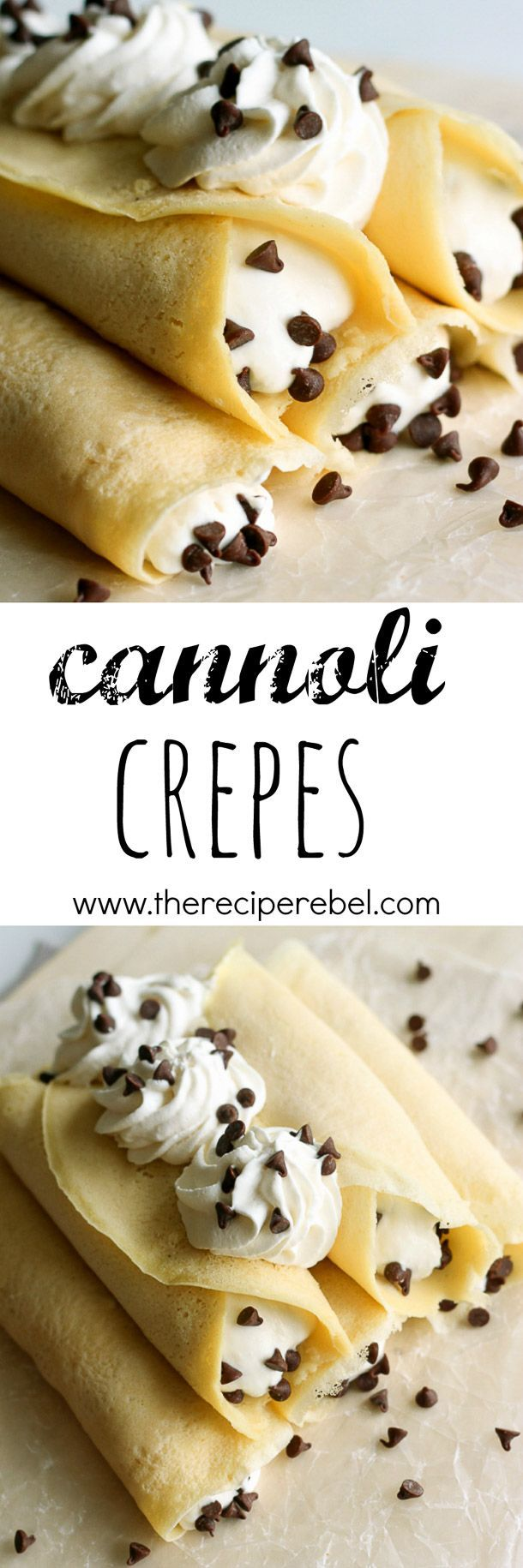 Cannoli Crepes: Soft homemade crepes filled with sweet ricotta cream and chocolate chips, topped with whipped cream and more