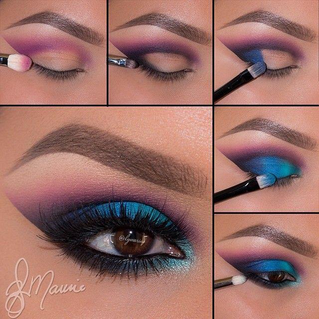 Blue purple eye makeup tutorial #evatornadoblog