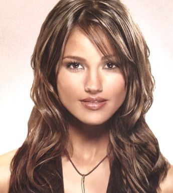 layered haircuts with side bangs long wavy hair style with side part bangs brown picture