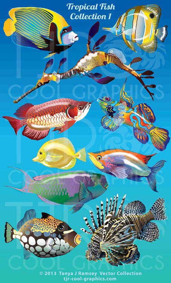 Tropical Fish 1 Digital Realistic Clip Art, PNG, Printable