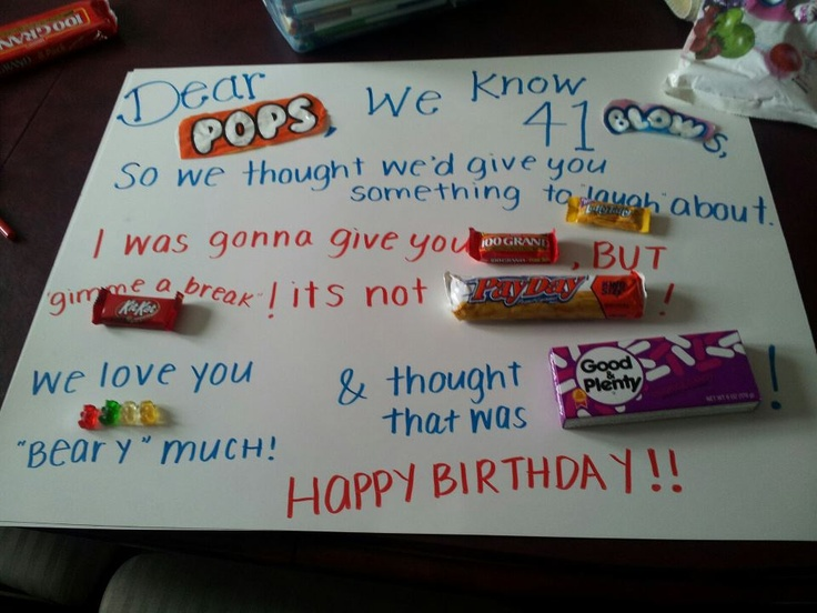 Birthday Card for my dad with candy ( Gifts crafts