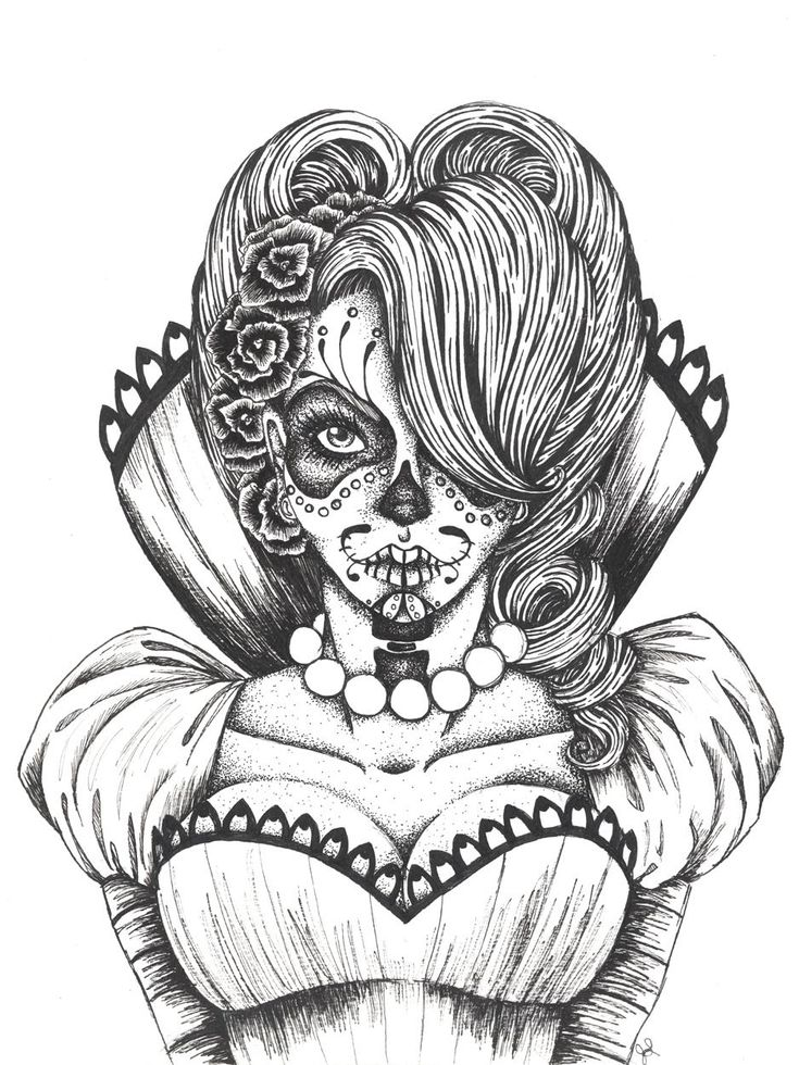 day of the dead coloring pages | vicky – Day of the Dead Collection | Illustration | Mixed media