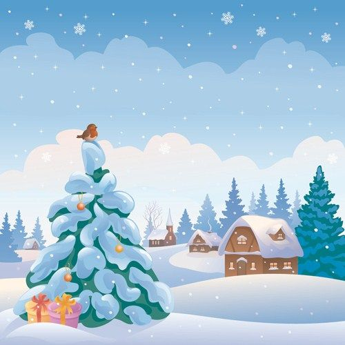 Cartoon Winter Nature Background Vector 05 Nadal
