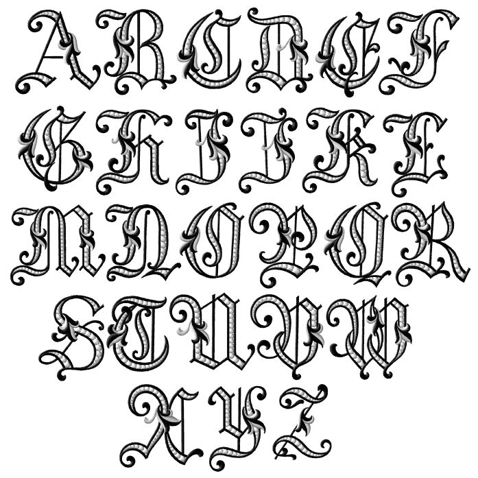 fancy letters of the alphabet tattoo fonts old