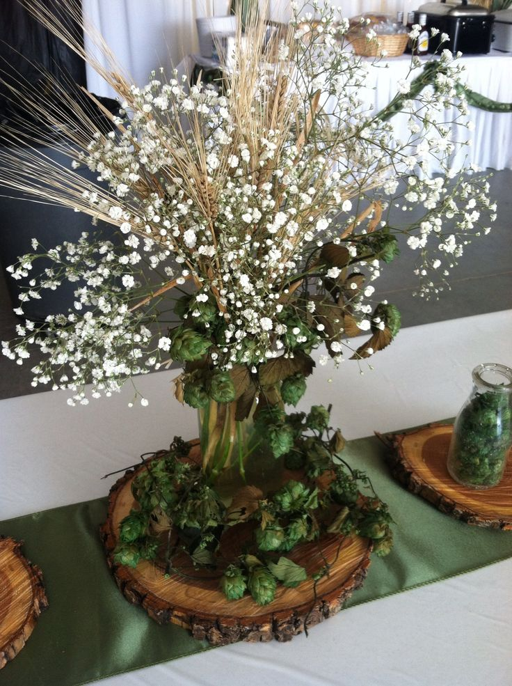 Hops And Barley Centerpiece By Exquisite Events Bismarck ND Rustic Centerpieces Pinterest