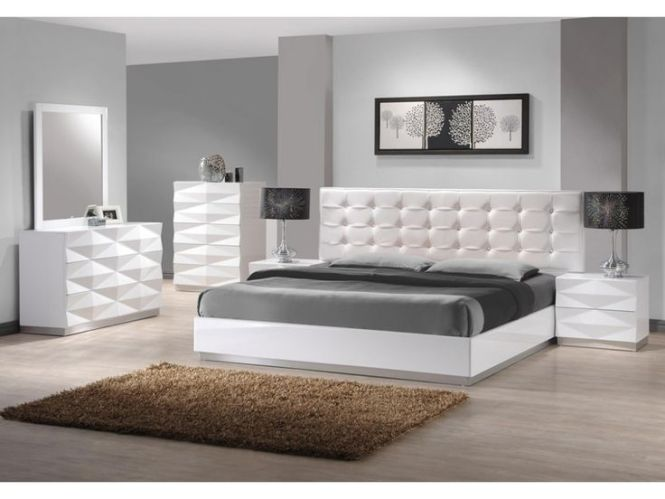 White Leather Bedroom Dresser Sets With Tufted Headboard