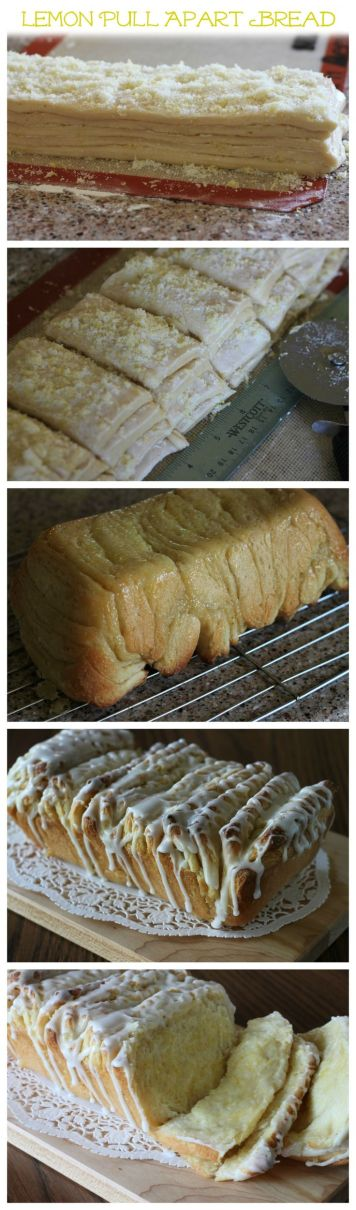 Lemon Pull-Apart Bread - Layers of light, fluffy sweet bread sandwiched with sweet, fragrant lemon sugar, then drizzled with a tart lemon glaze. #recipe #lemon #yeastbread