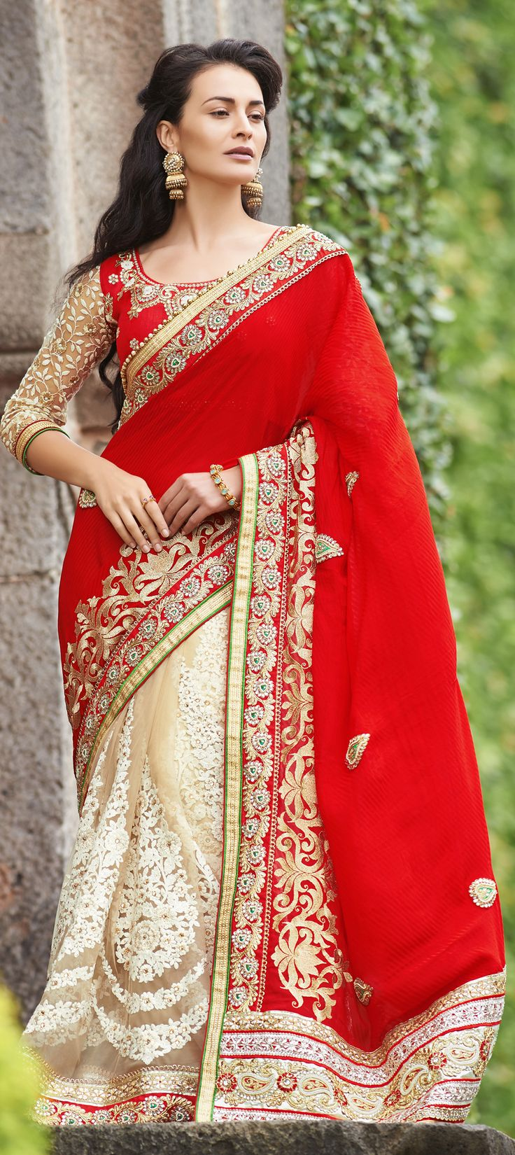 150140 Red and Maroon, Beige and Brown color family Saree
