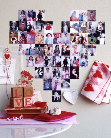 Photo Montage in the shape of a heart. Can make it for kids, or your loved one –