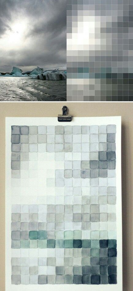 Use photoshop to pixelate a photo and use that as a guide for a modern watercolor 6e9ff9a1a01813c8cd07cea06b7290e7.jpg (433×942)