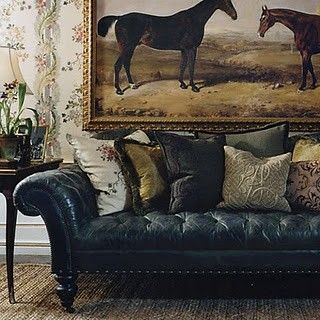 Equestrian Beauty l Ralph Lauren inspired. Black leather tufted sofa.