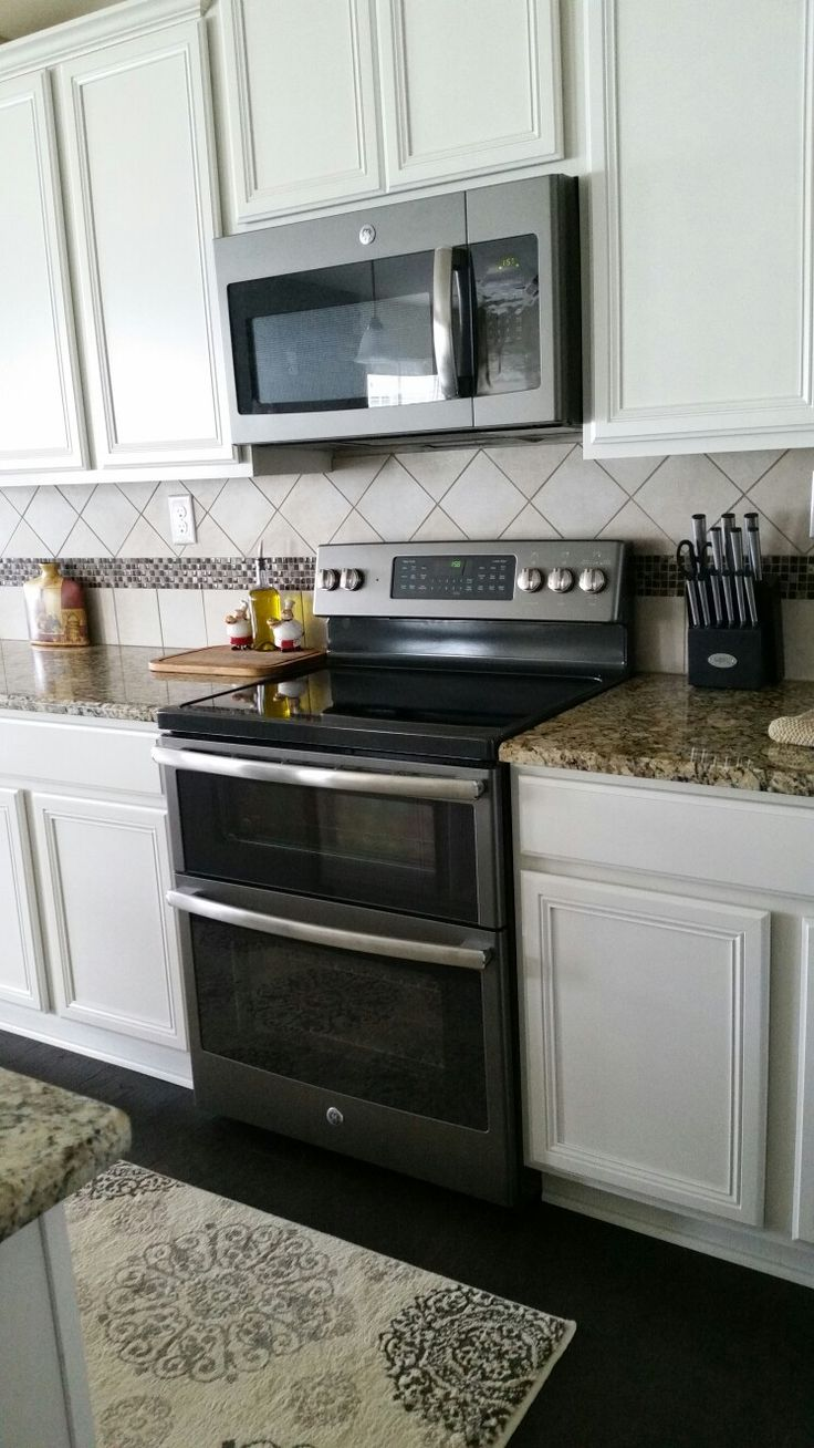 GE Slate appliances with antique white Our