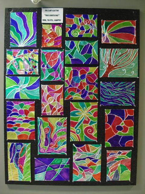 Foil Embossing with 4, 5, and 6 grade. Use cereal box, yarn, aluminum foil, glue, and sharpies   a faithfu