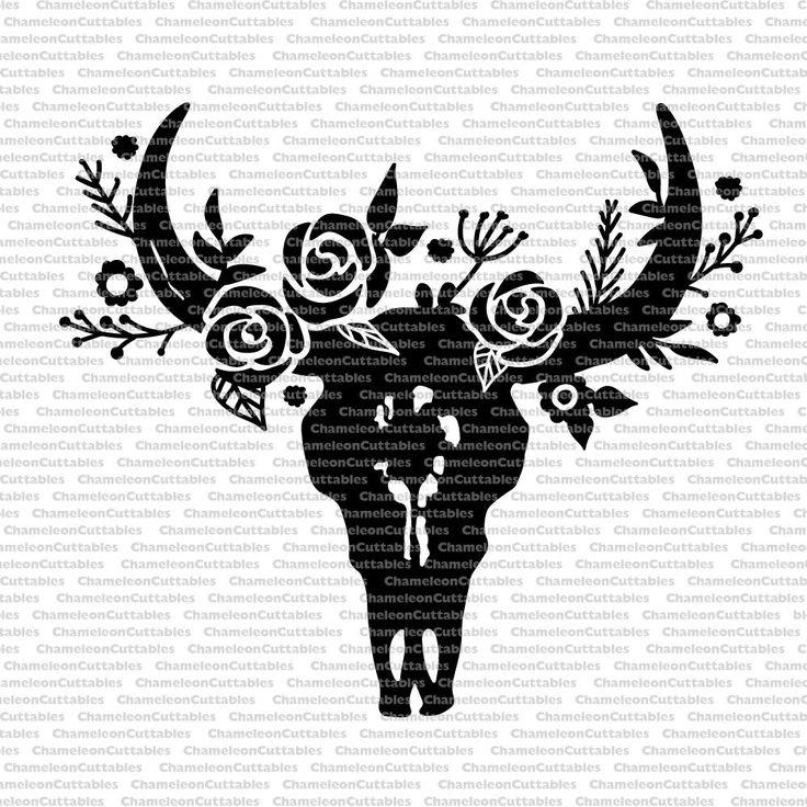 Cow skull black, svg, cut, file, decal, bull, horns