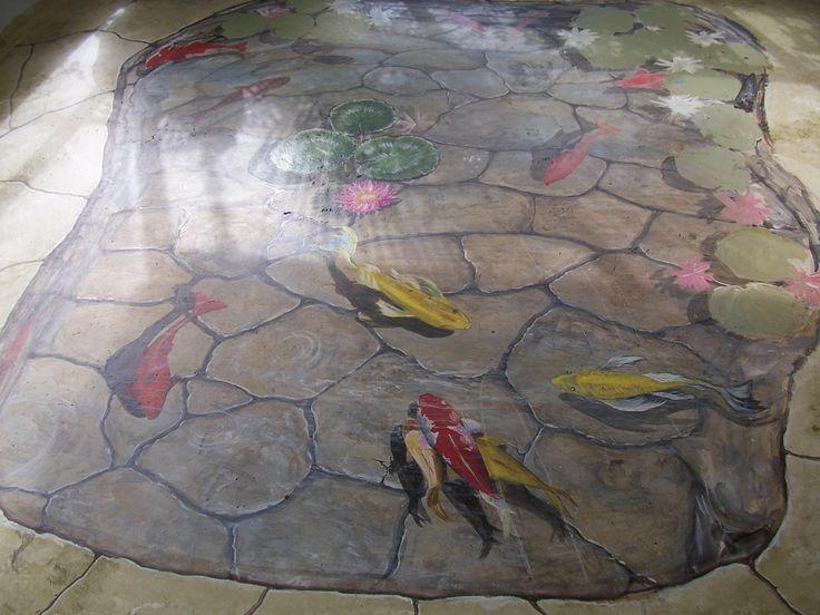 Floor Mural Trompe Loeil Koi Fish Pond By Louise Moorman 3d Floor Pinterest Floors