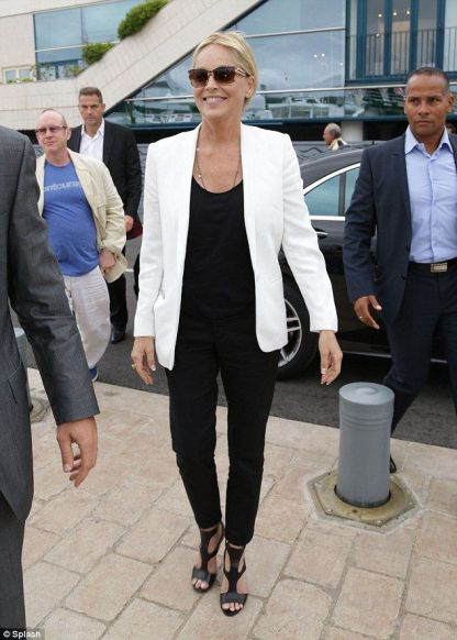 b21da0fbc Timeless  Sharon Stone looked a picture of health as she arrived to spend  time on