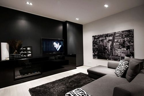 Nice And Cozy Living Room With Black, White, And Grey