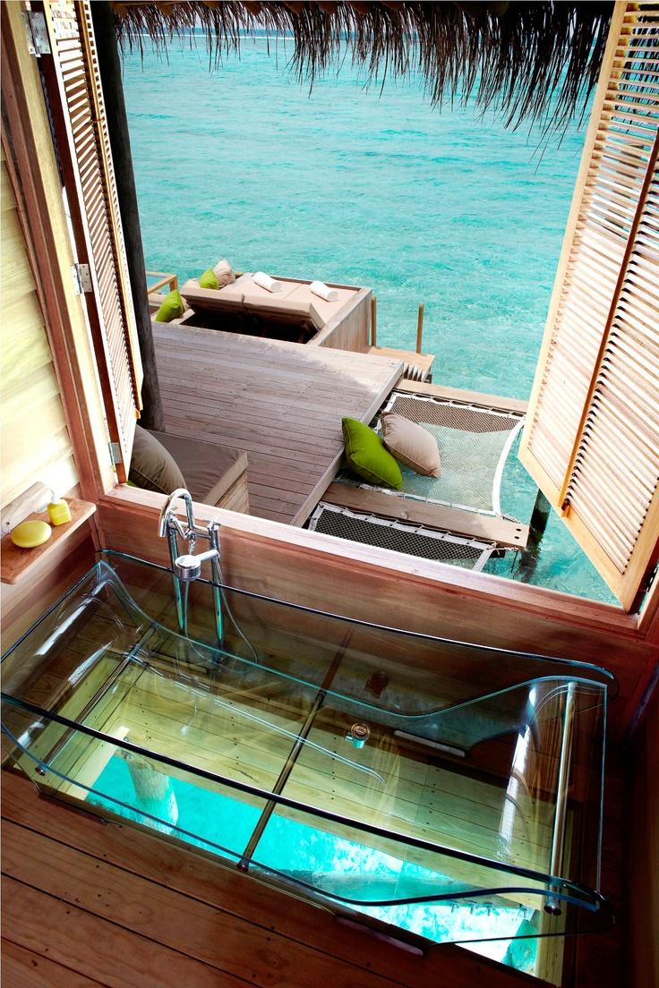 Glass Bottom Bathtub Six Senses Laamu Maldives