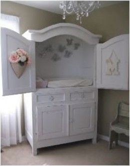 My sis did something similar for her baby's nursery and it's amazing!!! an old tv armoire turned into a changing station – great