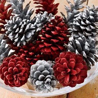 spray paint Christmas pine cones:
