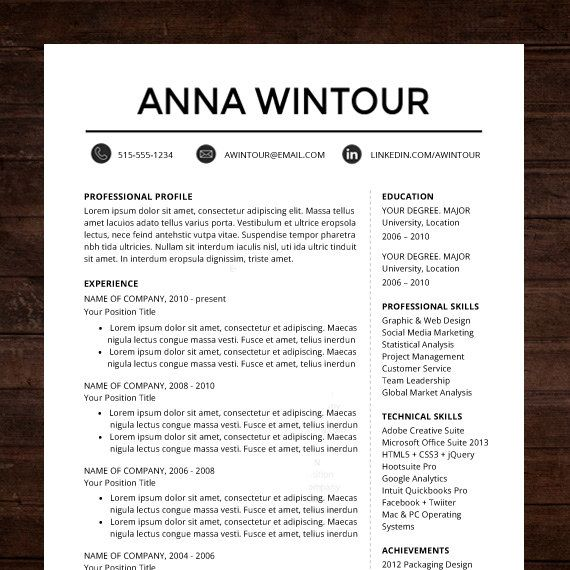 1000 ideas about resume templates for word on pinterest resume
