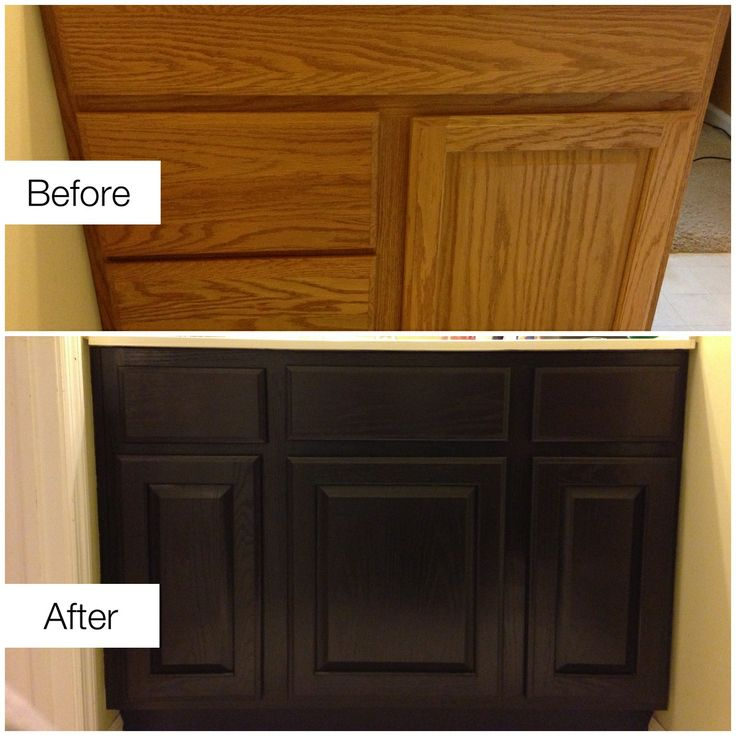 Before Amp After Staining Ugly Golden Oak Cabinets